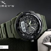 TEEKEY'S Men Luxury Brand Dual Time PU Strap watch TK3133 - Texture Black