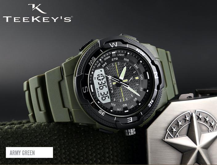 TEEKEY'S Men Luxury Brand Dual Time PU Strap watch TK3133 - Texture Black