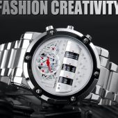 TEEKEYS Men Luxury Brand Stainless Steel Watch With Rolling Day Month Date TK3170 - Silver