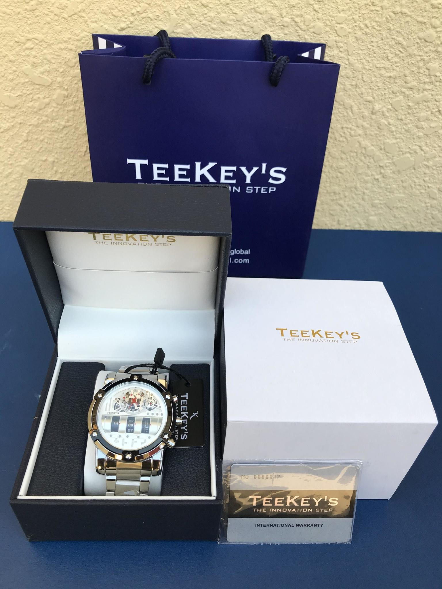 TEEKEYS Men Luxury Brand Stainless Steel Watch With Rolling Day Month Date TK3170 - Silver