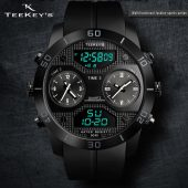 TEEKEY'S TK3135 Men Luxury Brand PU Strap Belt 3 time Zone Watch