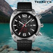 TEEKEY'S TK3161 Men/Women Luxury Brand Leather Chronograph and Date Watch - Black