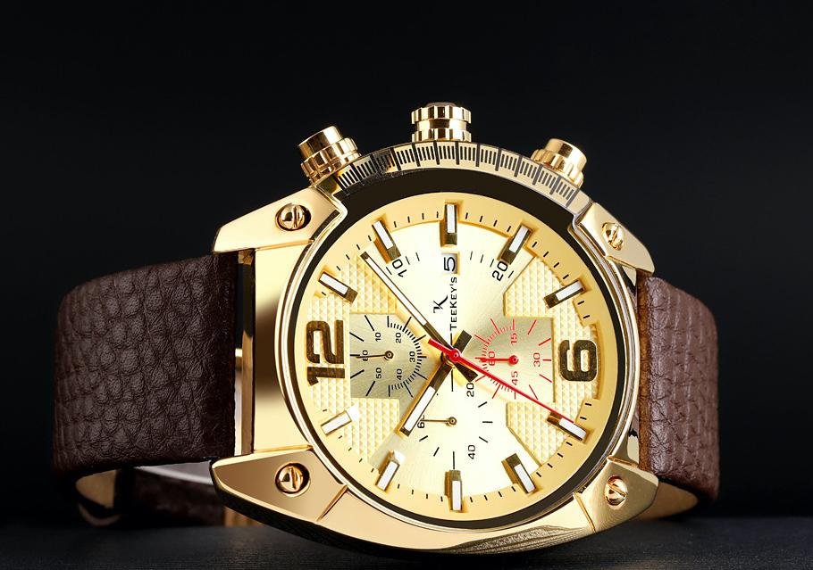 TEEKEY'S TK3161 Men/Women Luxury Brand Leather Chronograph and Date Watch - Black