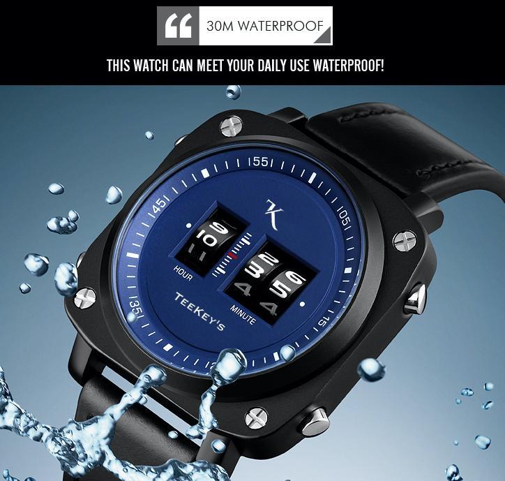 TEEKEY'S TK3163 Men Luxury Brand Rolling Time Leather Watch