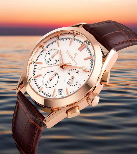 TEEKEY'S TK3165 Men Luxury Brand Chronograph and Date Leather Watch - White