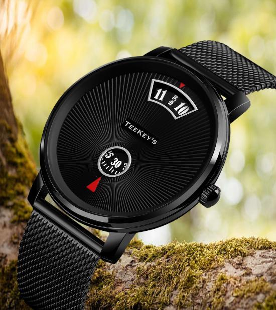TEEKEY'S TK3171 Men/Women Luxury Brand Stainless Steel Mesh Watch - Black Mesh