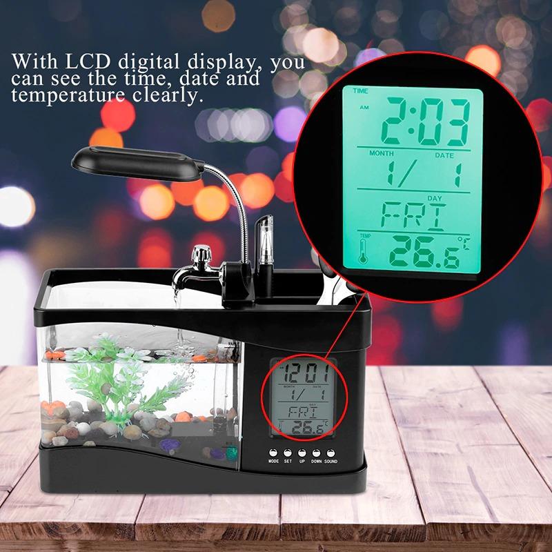 USB Desktop Aquarium - Mini Fish Tank With Running Water, Pebbles and LED Light - Black