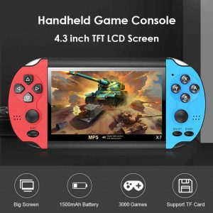 X7 Handheld Game Console Player 4.3 Inch LCD Display 8GB MP5 Video Game Red Blue
