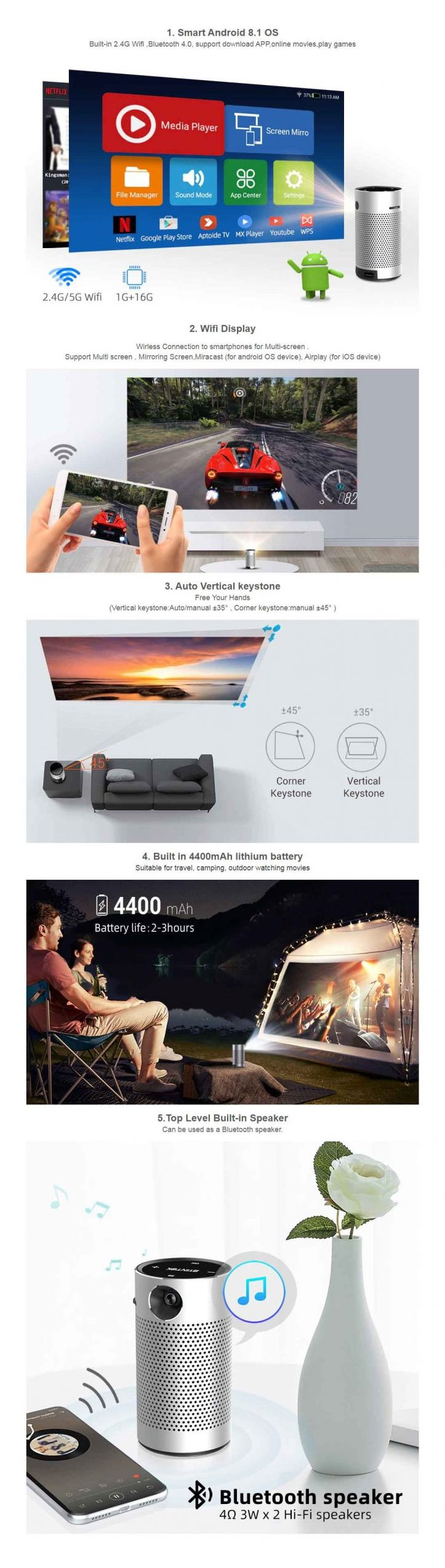 Byintek UFO P7 Android Projector - Portable Smart Home Theater Pocket Battery Projector