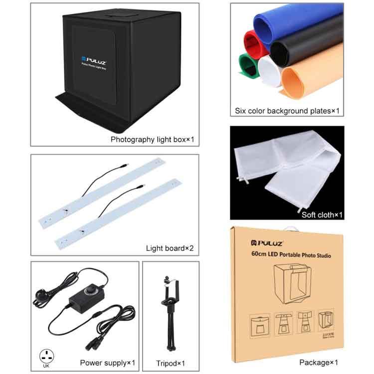 PULUZ Photo Studio Light Box Portable 60 x 60 x 60 cm Light Tent LED White Light Dimmable Mini 36W Photography Studio Tent Kit with 6 Removable Backdrop (Black Orange White Green Blue Red)(UK Plug)