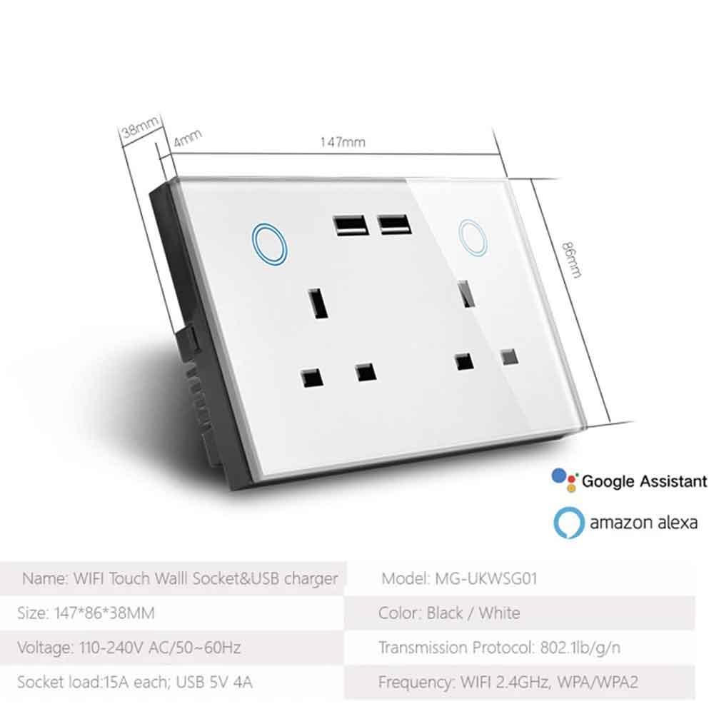 2 WiFi Smart Wall Socket & USB Charger