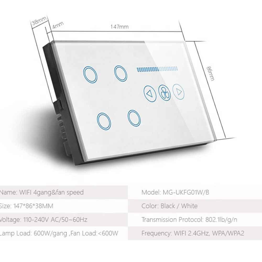4 Gang WiFi Smart Light Switch & Fan Speed Switch