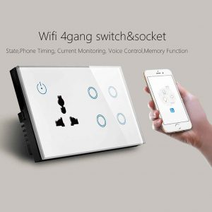 4 Gang Wifi Smart Wall Switch & Socket Compatible with Alexa Google Home