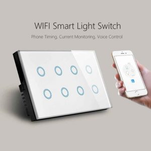 8 Gang WiFi Smart Wall Switch Glass Panel Compatible with Alexa Google Home