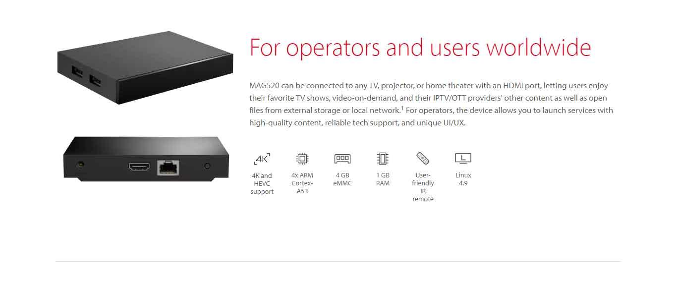 Infomir MAG520 4K and HEVC-enabled Linux Set-top Box -LAN Version