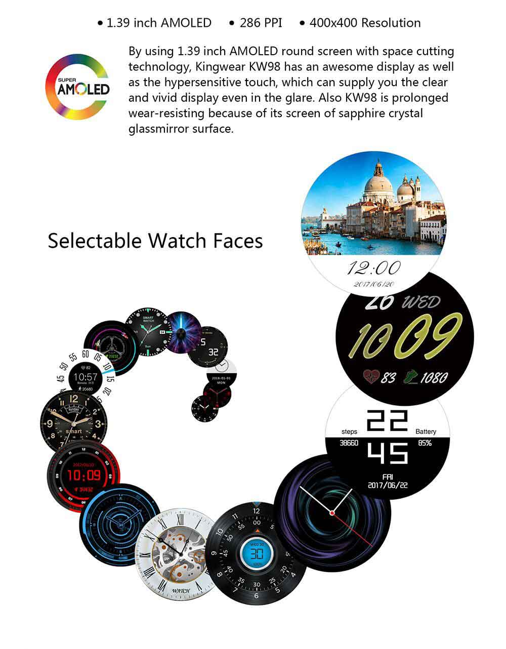 KW98 Smartwatch- 8GB 1.39 Inch Screen - Black and Silver