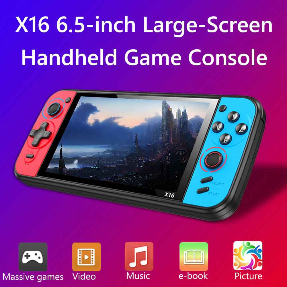 Black Hawk X16 Handheld Video Game Console 6.5 Inch 8G Retro Game - Blue and Red
