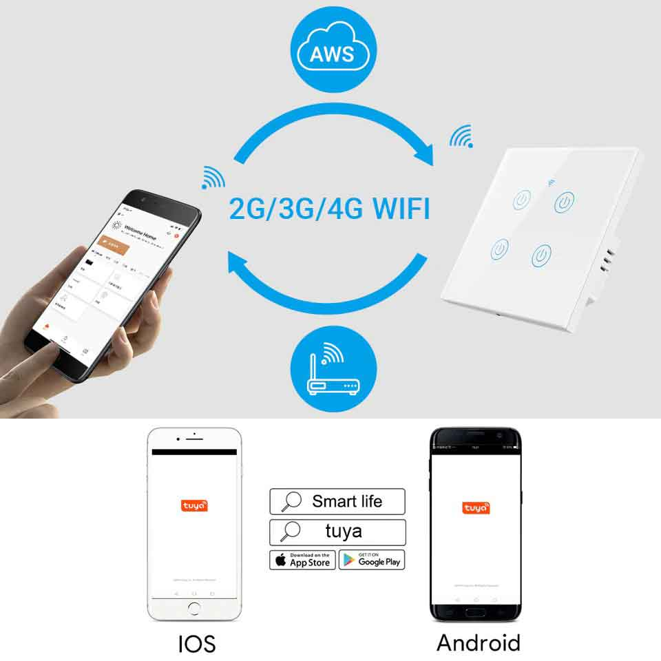 DS-101 Wifi Smart Touch Switch 4 Gang Wireless Wall Light Switch
