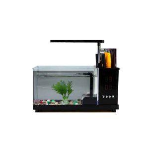 FS12 USB Desktop Aquarium Mini Fish Tank with LED Light for Home Office Decoration