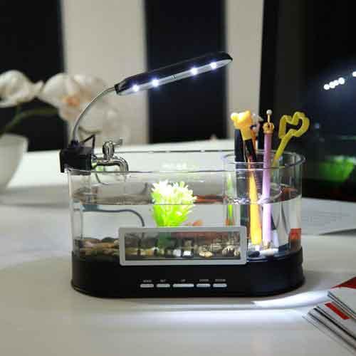 FS13 USB Desktop Aquarium Mini Fish Tank With LCD Display LED Light - Black