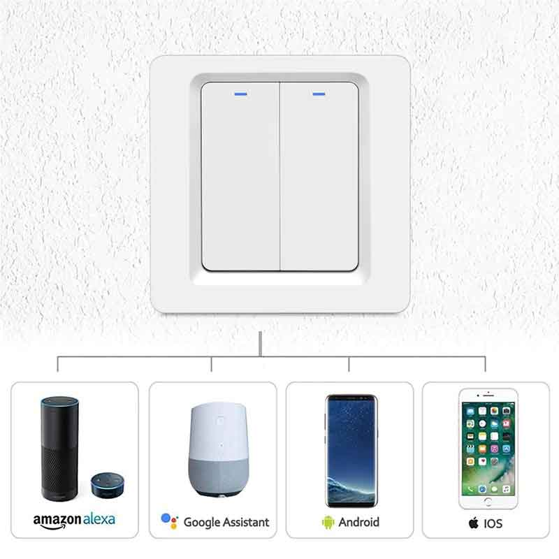 Smart Life DS-102 WiFi Light Touch Switch 2 Gang Wireless Wall Switch With Push Button