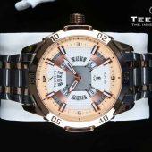 TEEKEYS TK3150 Men Luxury Brand Stainless steel Date Calendar Watch With Dual tone Color.