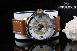 TEEKEYS TK3155 Men Luxury Brand Date Calendar Watch With Leather Belt