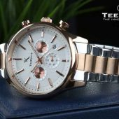 TEEKEYS TK3160 Men Luxury Brand Stainless steel Chronograph Watch With Dual tone Color.