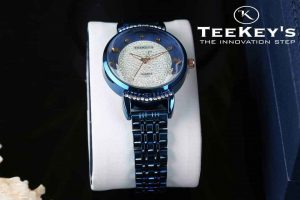 TEEKEYS TK7140 Women Luxury Brand Stainless steel with White Stones Watch.